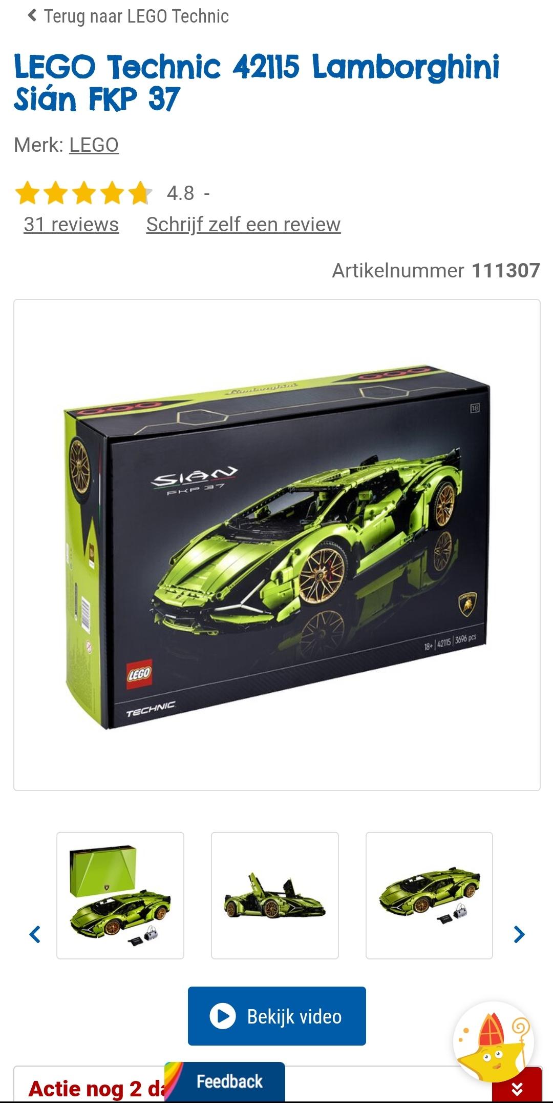 LEGO Technic 42115 Lamborghini Sián FKP 37 - laagste prijs