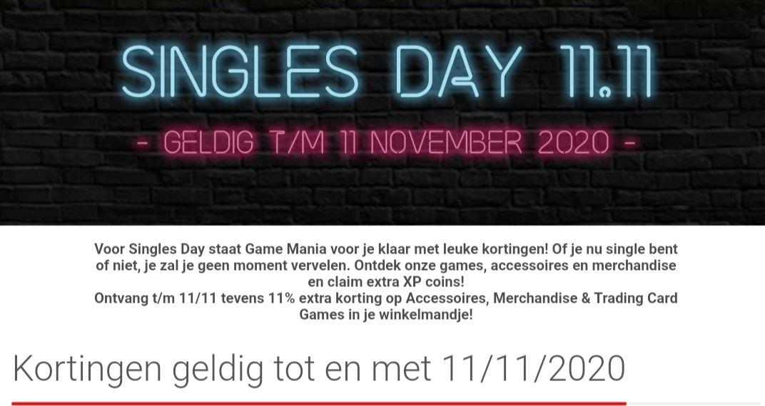 Singles Day bij Game Mania 11% korting t/m 11-11