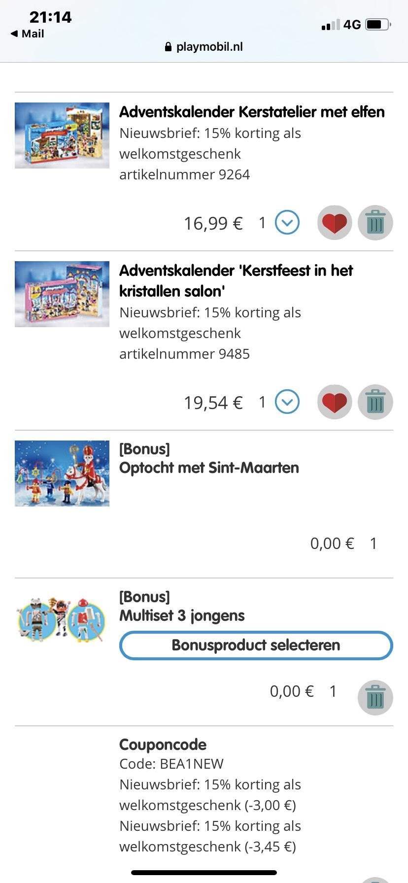 15% korting en bonuscadeaus Playmobil