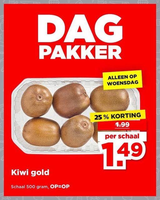 Plus Dagpakker: 500g Kiwi Gold voor €1,49