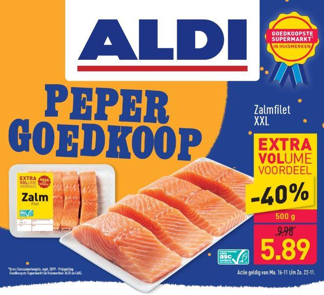 500g ASC Zalmfilet XXL van €10 voor €6 @ Aldi