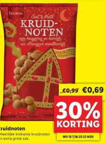 Kilo Kruidnoten van €0,99 voor €0,69 @ Lidl