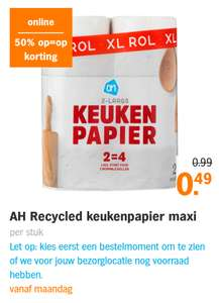 Recycled keukenpapier maxi ah