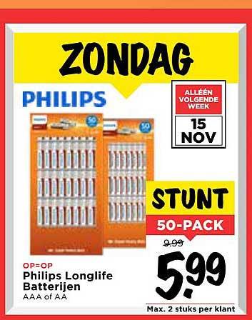 Zondag 15 November 50 Philips batterijen voor 5,99 bij Vomar