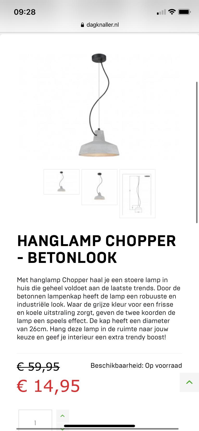 Hanglamp chopper - Betonlook
