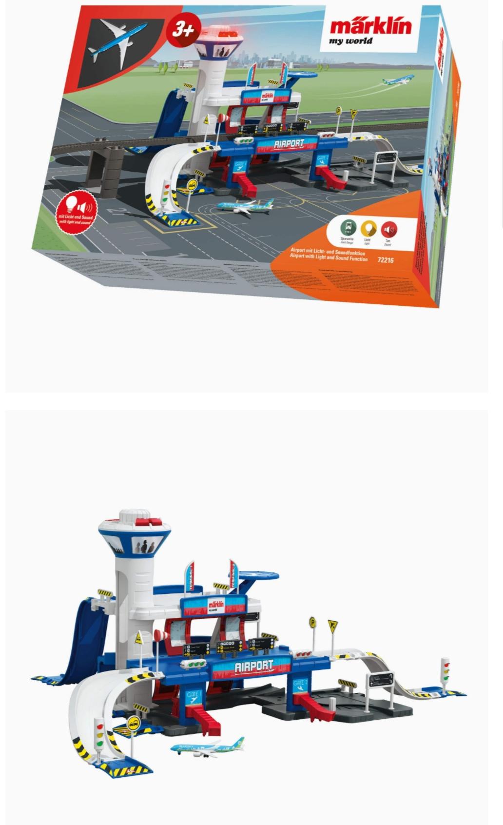 Märklin 72216 my world - Aanvulpakket Airport Station, modelspoorbaanset, licht- en geluidseffecten, met vliegtuig, Spoor H0