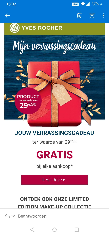 Gratis cadeau ter waarde :€29,95 bij besteding van minimaal €10
