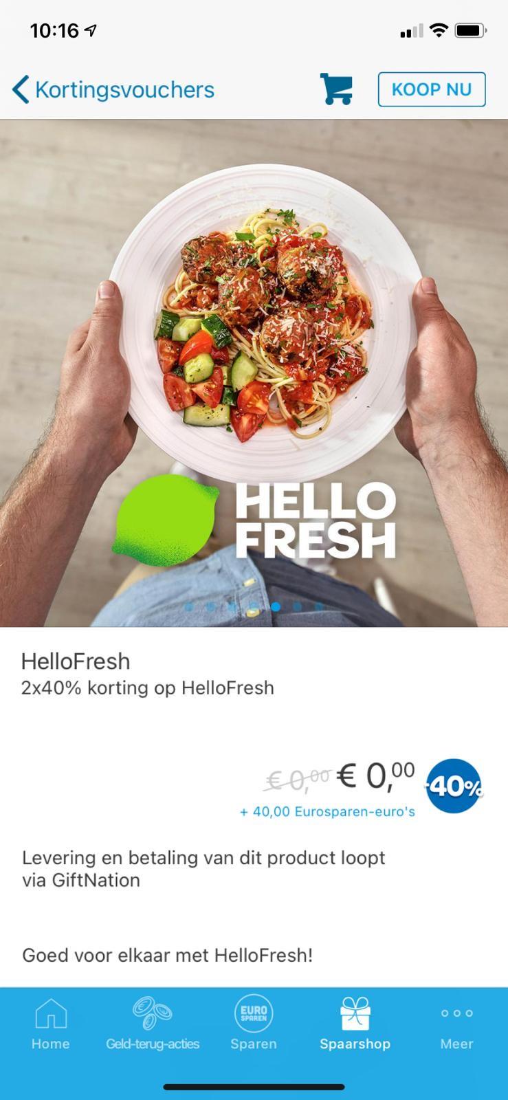 2x 40% korting op Hello Fresh ook voor bestaande klanten {euro sparen}