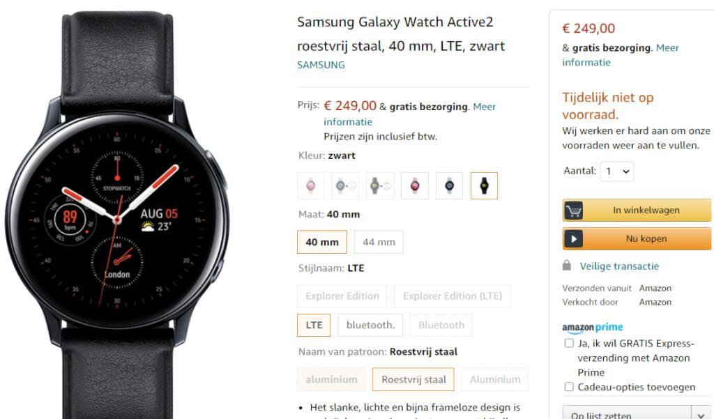 Samsung Galaxy Watch Active2 roestvrij staal, 40 mm, LTE, zwart