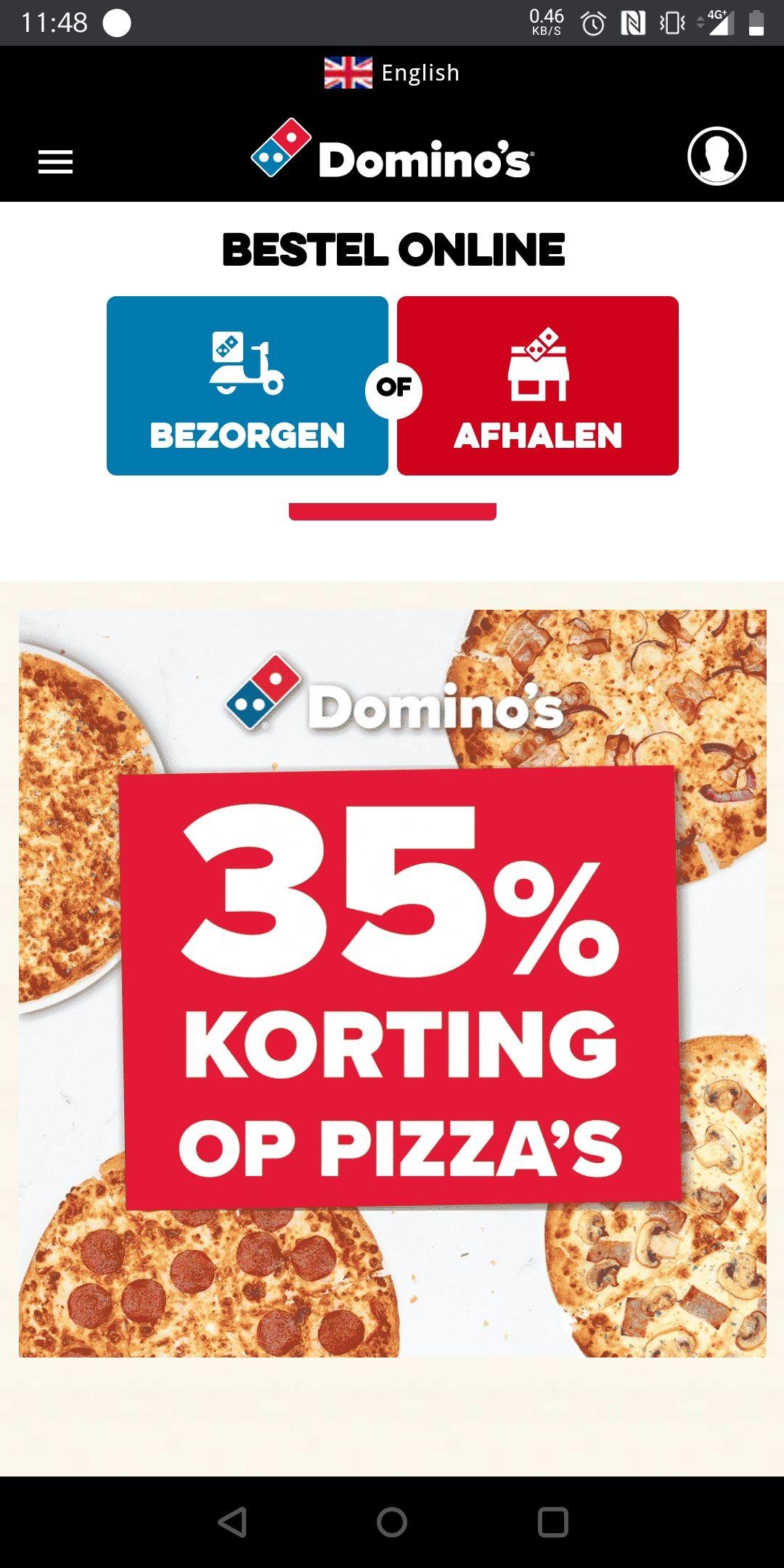 Domino's Flash Weekend 35% korting op pizza's