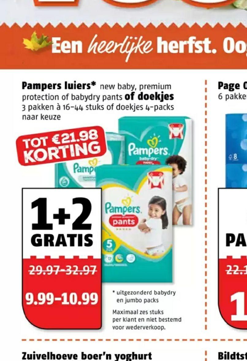 Pampers luiers of doekjes 1+2 gratis