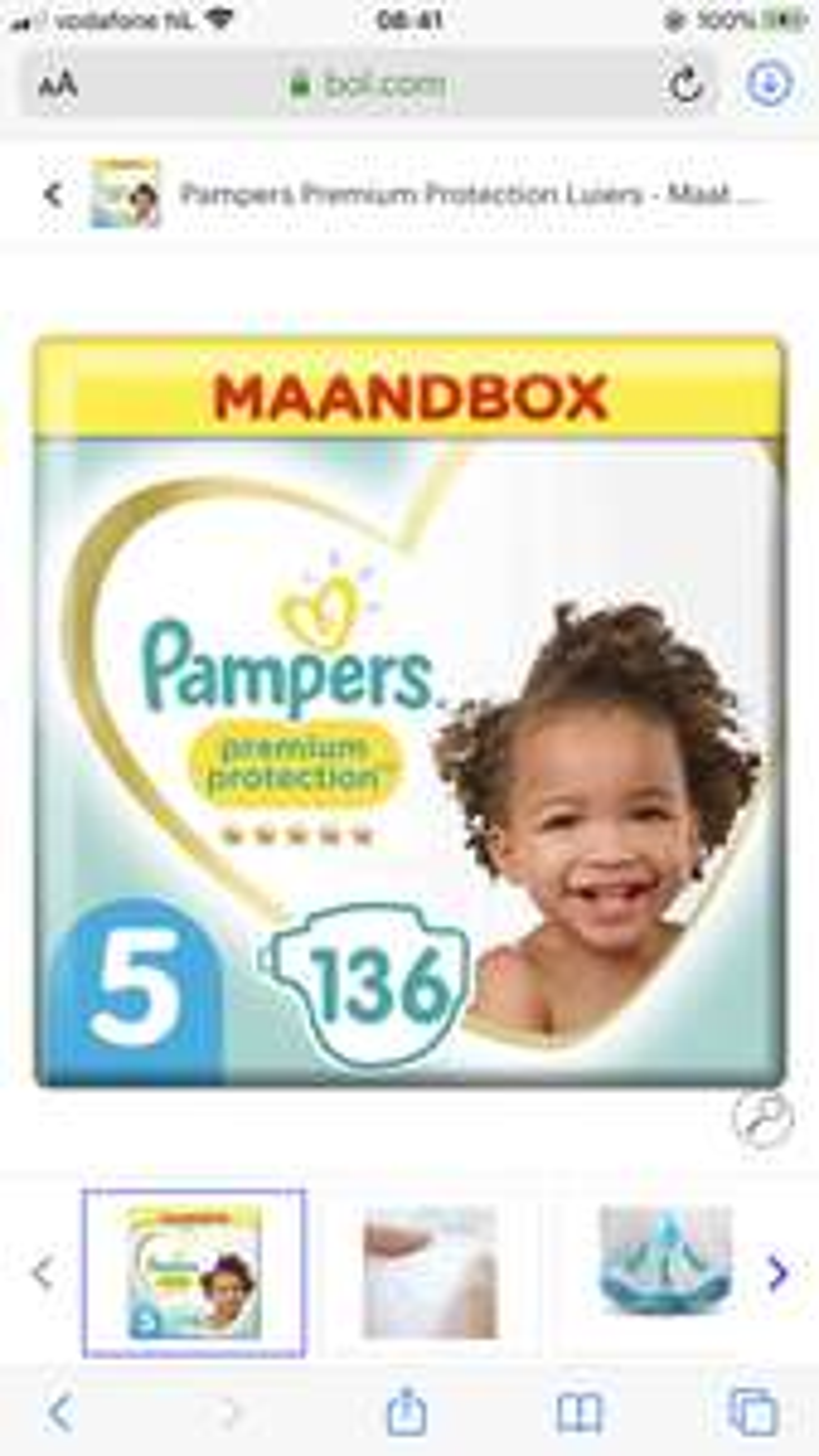 Pampers premium protection maat 5 maandbox €29,- (136stuks)