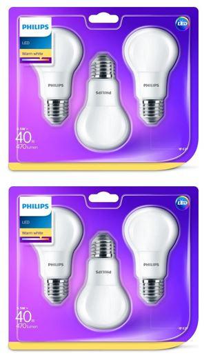 6 Philips Ledlampen (40W A60 E27 WW 230V FR ND 3BC/6)
