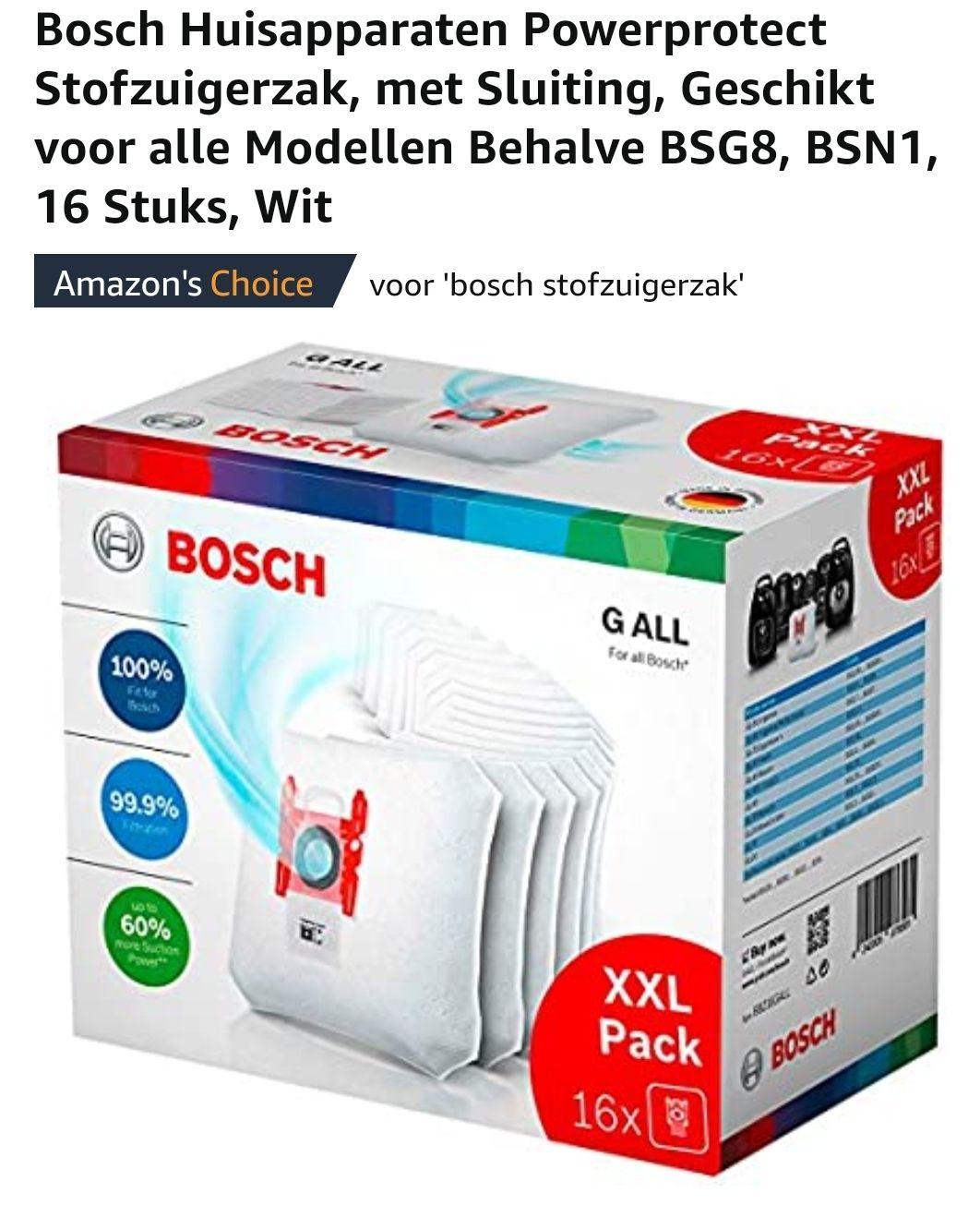 Bosch stofzuigerzakken XXL (16 stuks) bij Amazon.nl