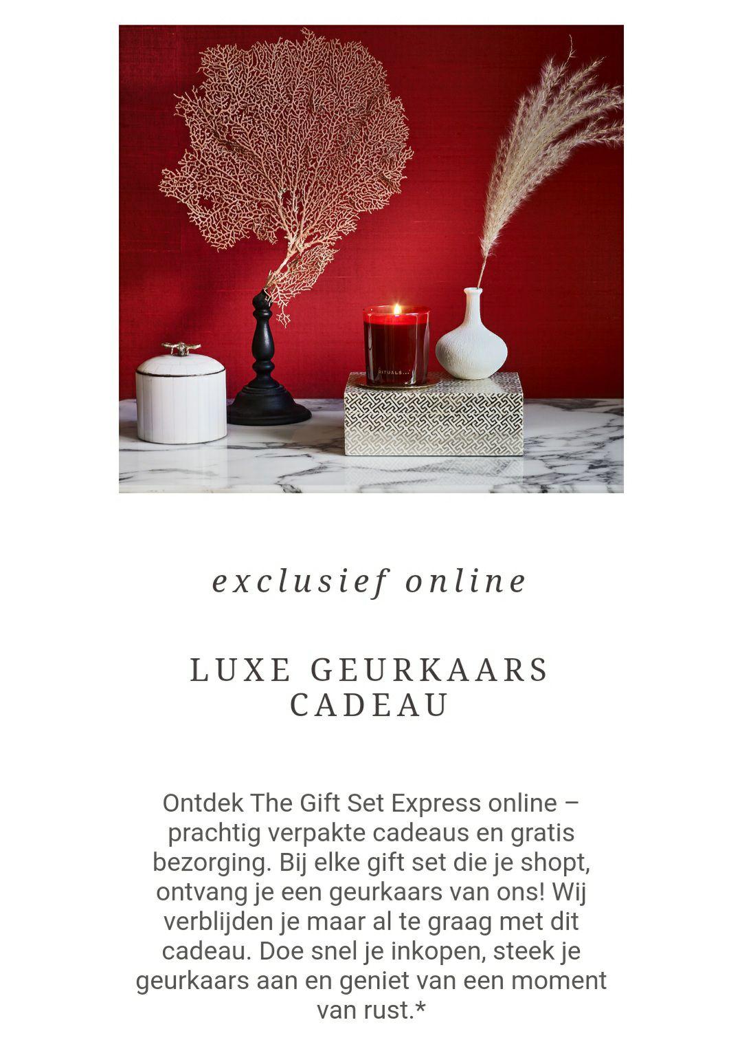 Luxe geurkaars cadeau bij elke giftset rituals vanaf €20,90