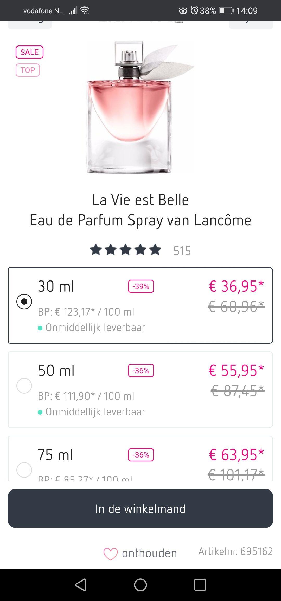 La Vie Est Belle parfum 39% korting (zoals site aangeeft) plus extra 10% korting met kortingscode EN GRATIS Samples!