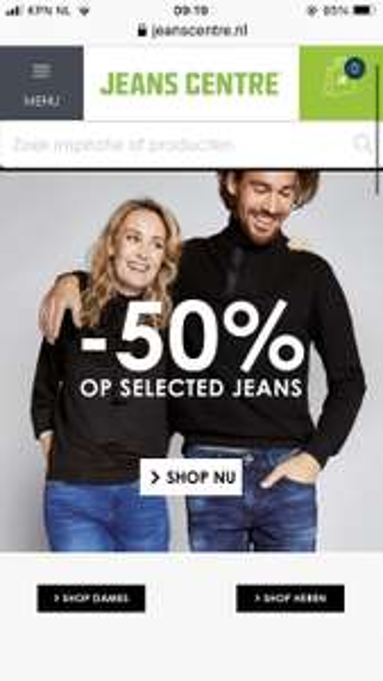 50% op geselecteerde jeans