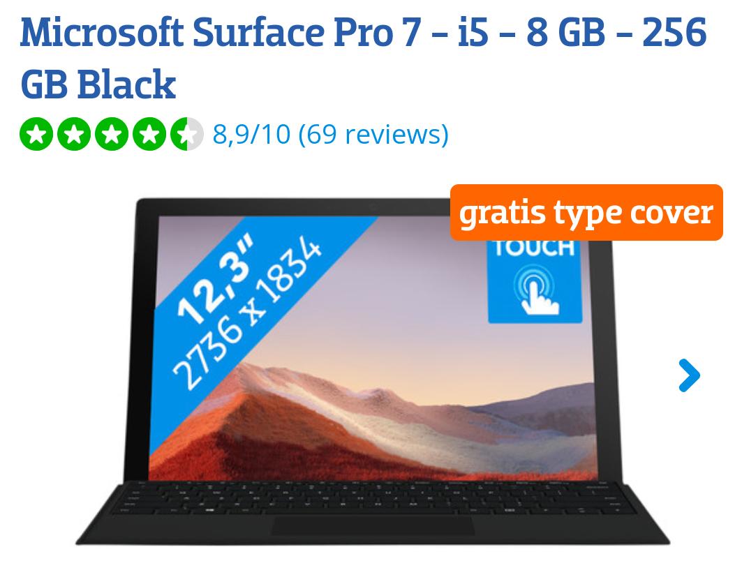 Microsoft surface pro 7 i5 8 gb 256gb Black