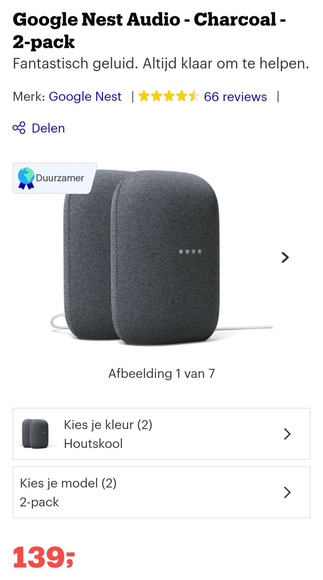 €139 Google nest audio duo pack