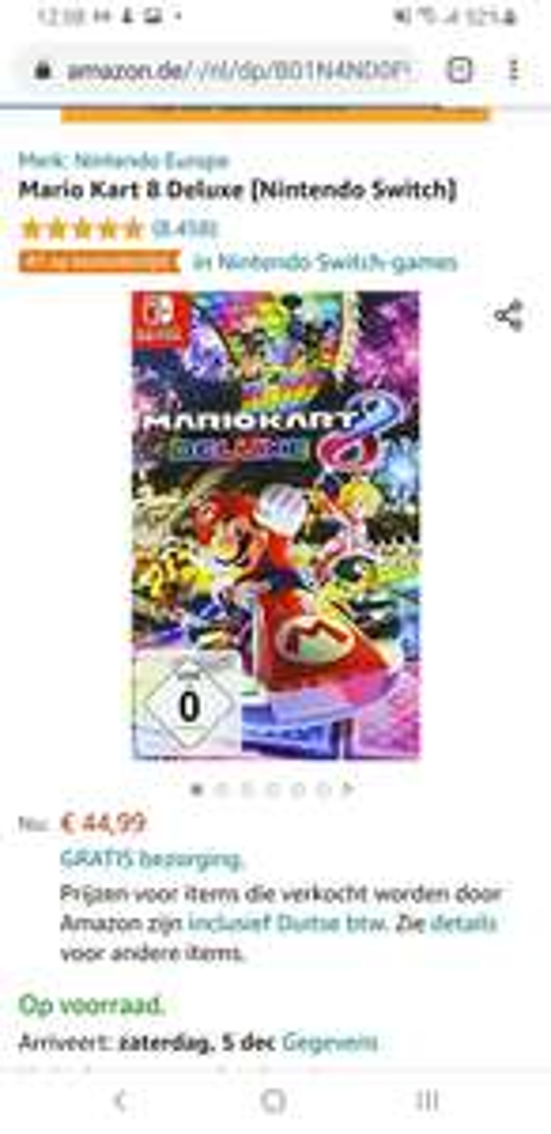 Nintendo switch Mario kart 8 deluxe amazon.de en amazon.nl