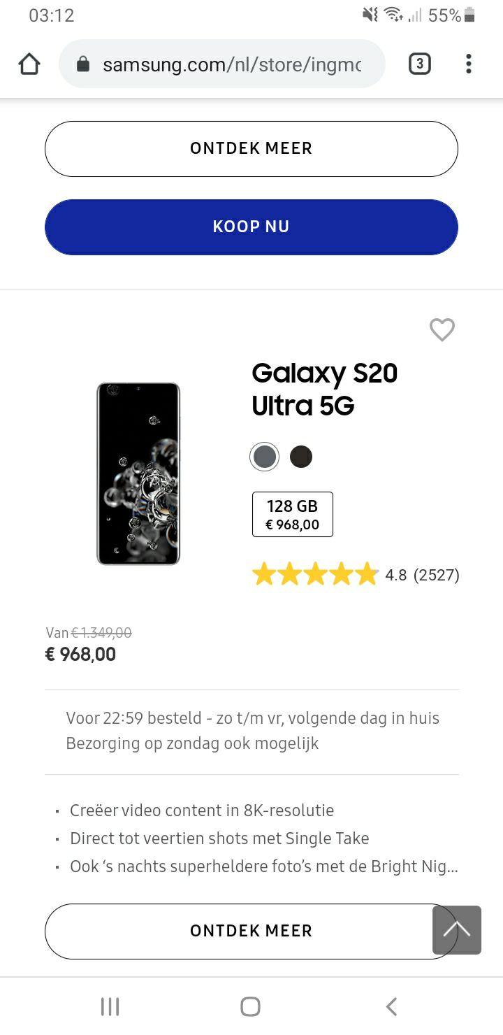Samsung Galaxy S20 ULTRA 5G | ING aanbieding