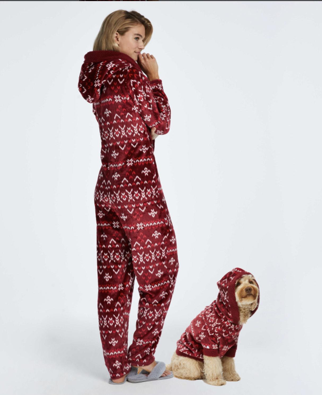 Kerst honden onesie matching onesie van mama
