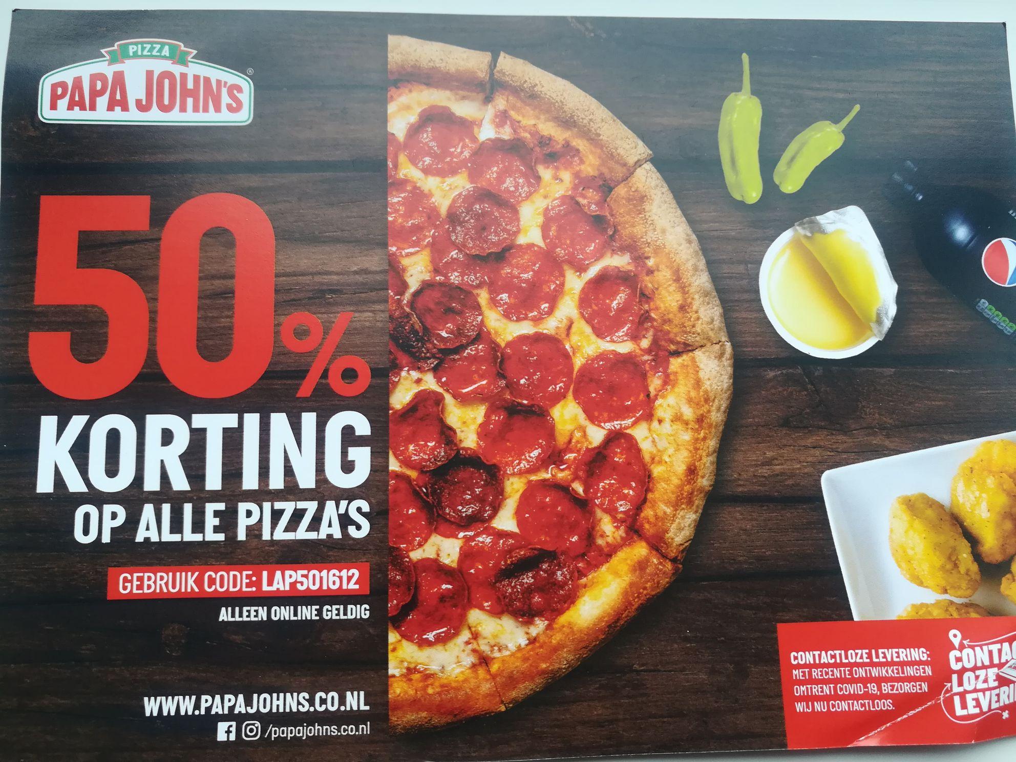 (Lokaal)50% korting op alle pizza's bezorgen of afhalen @ Papa John's