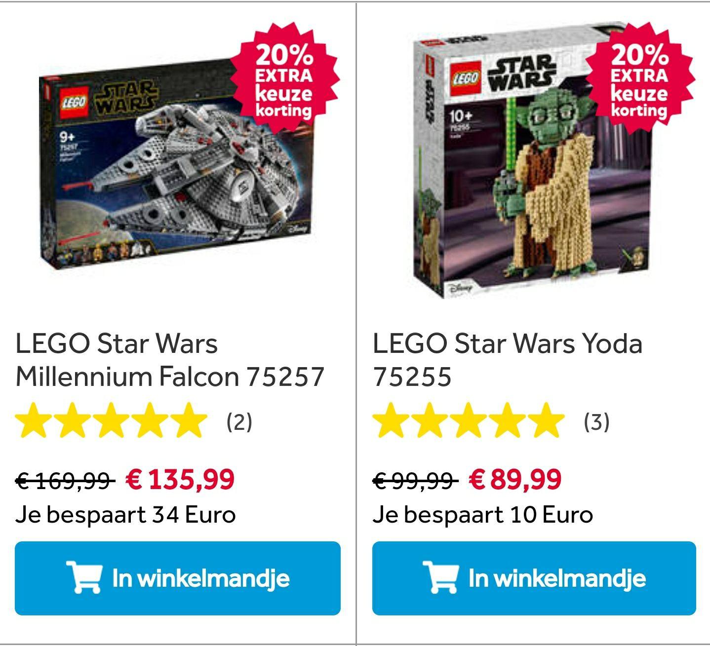 LEGO Star Wars Millenium Falcon 75257 (of anders ook korting op Yoda) met kortingscode