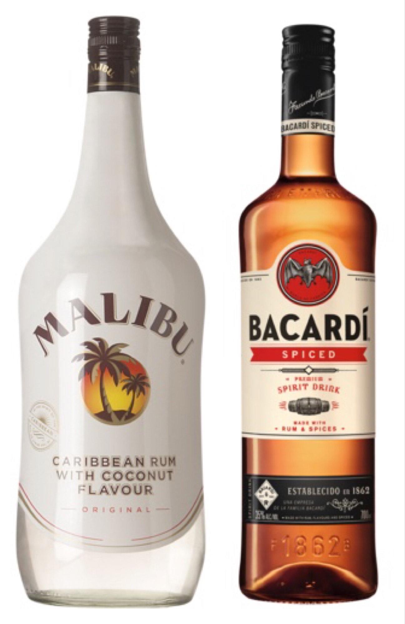 1.5 liter Bacardi Spiced of Malibu Coconut @ Gall&Gall