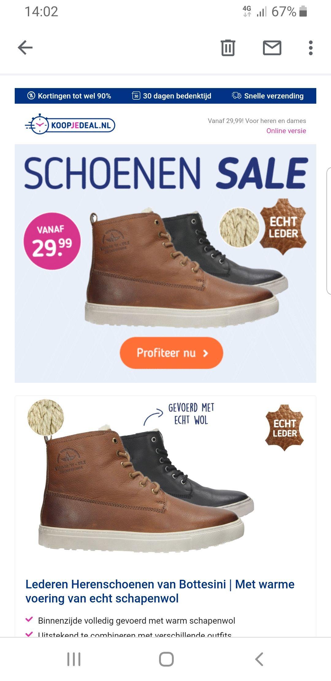 Leuke korting op leren schoenen en sloffen
