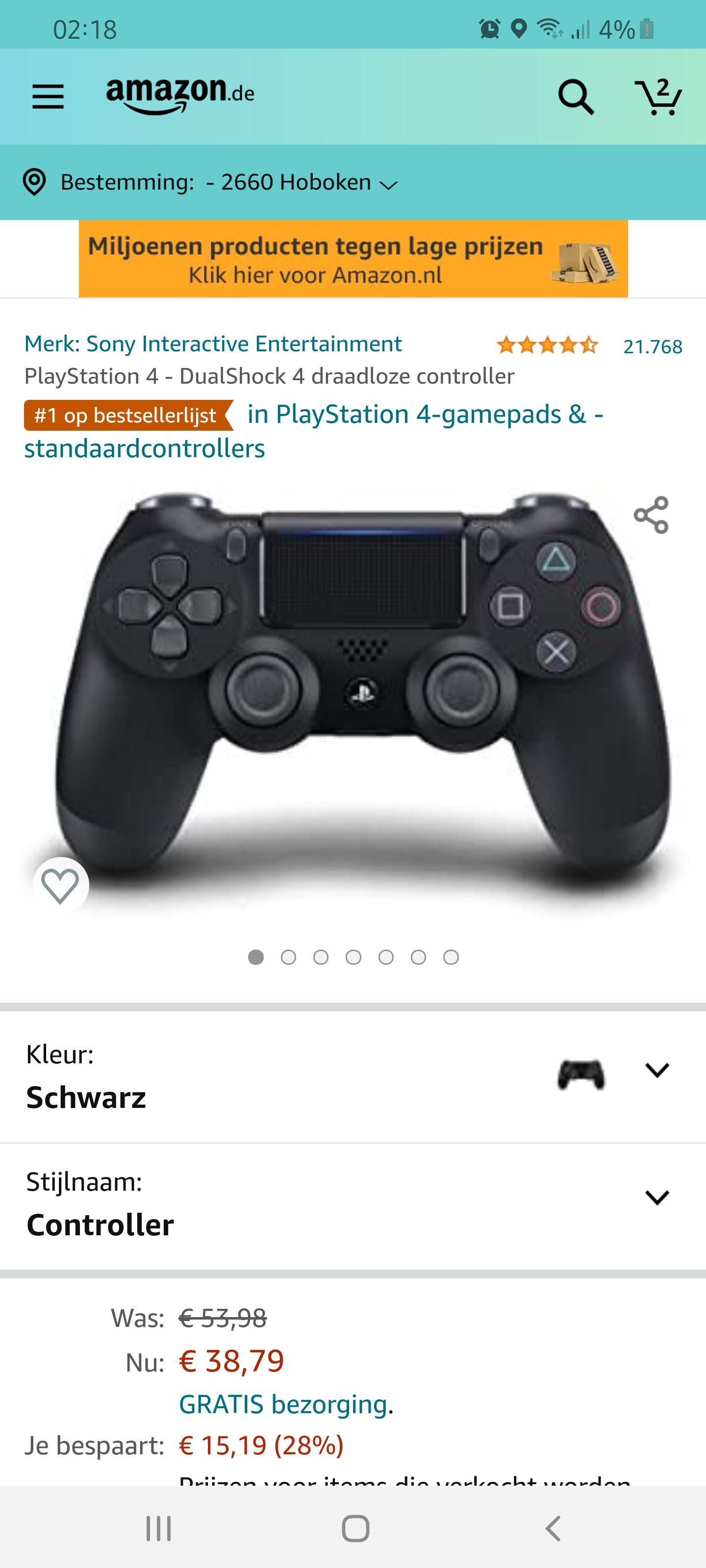 PlayStation 4 DualShock 4 draadloze controller