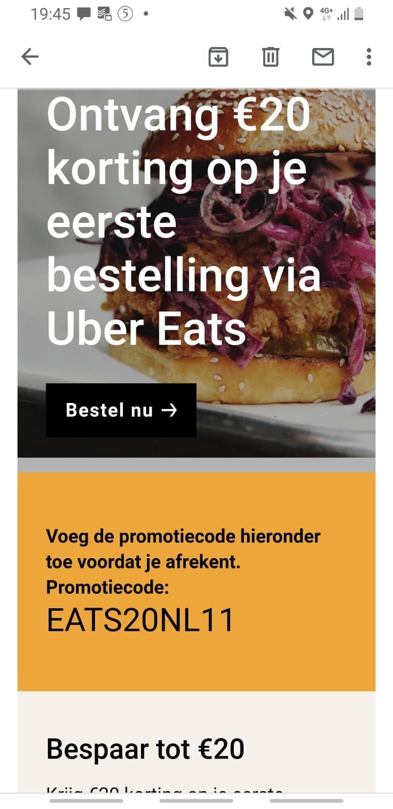 20 euro korting bij eerste bestelling ubereats