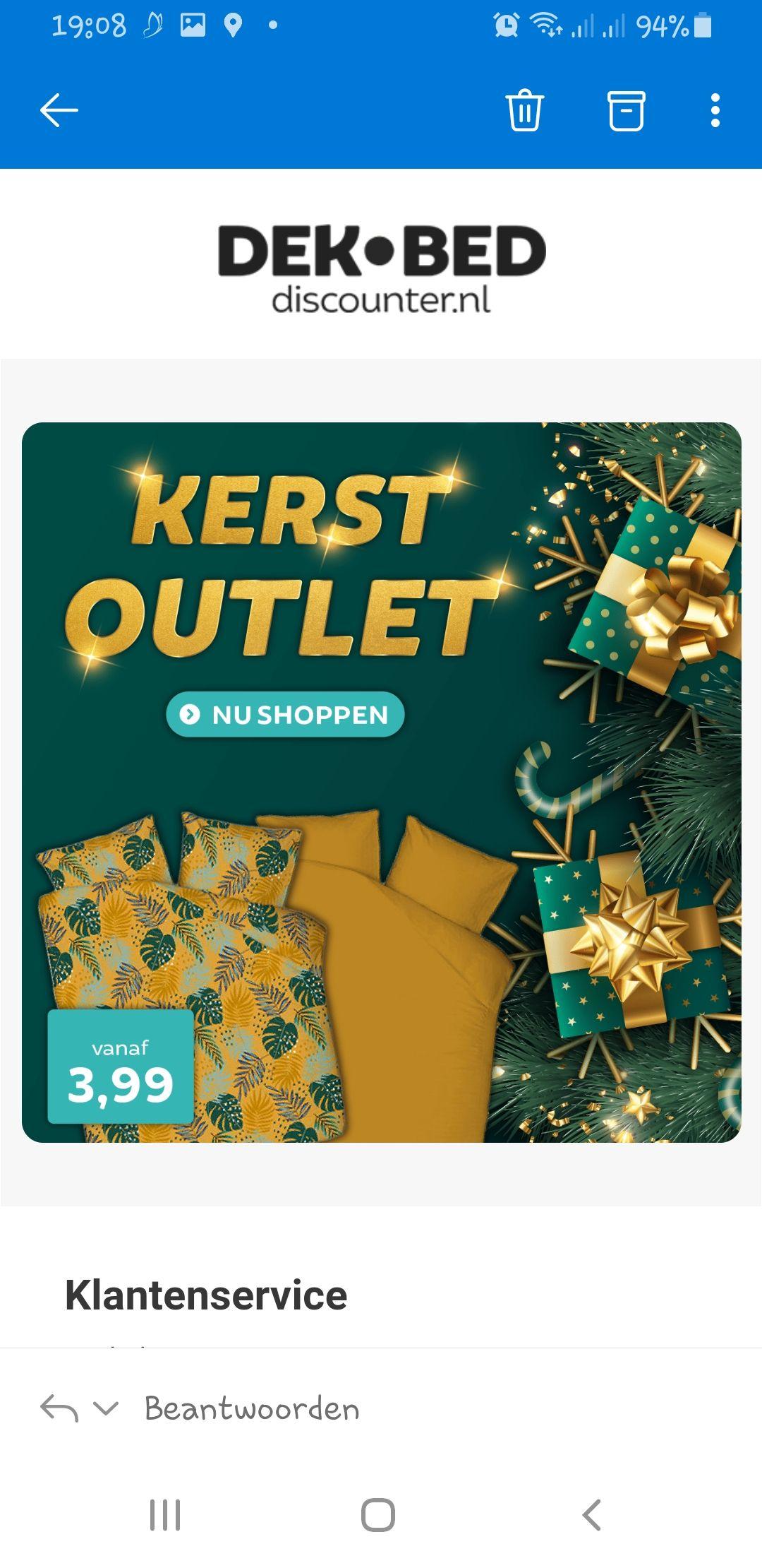Kerst sale bij www.dekbed-discounter.nl