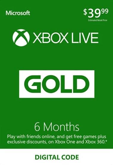 XBOX Live 6 Month Gold Membership Card Global