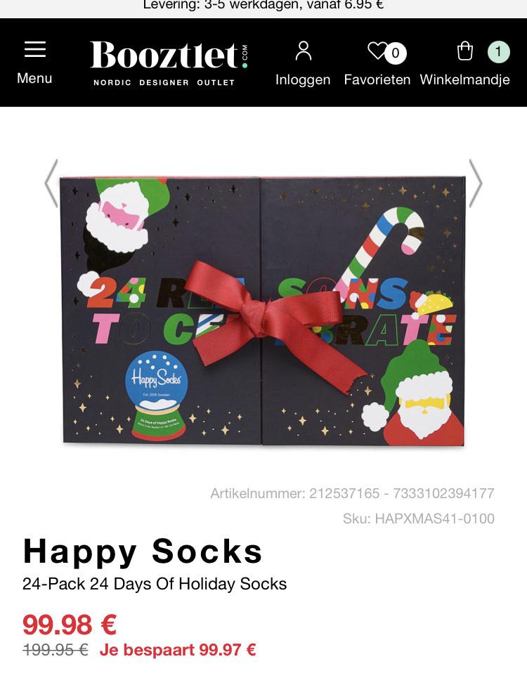 Happy socks adventskalender maat 41-46 met 50% korting