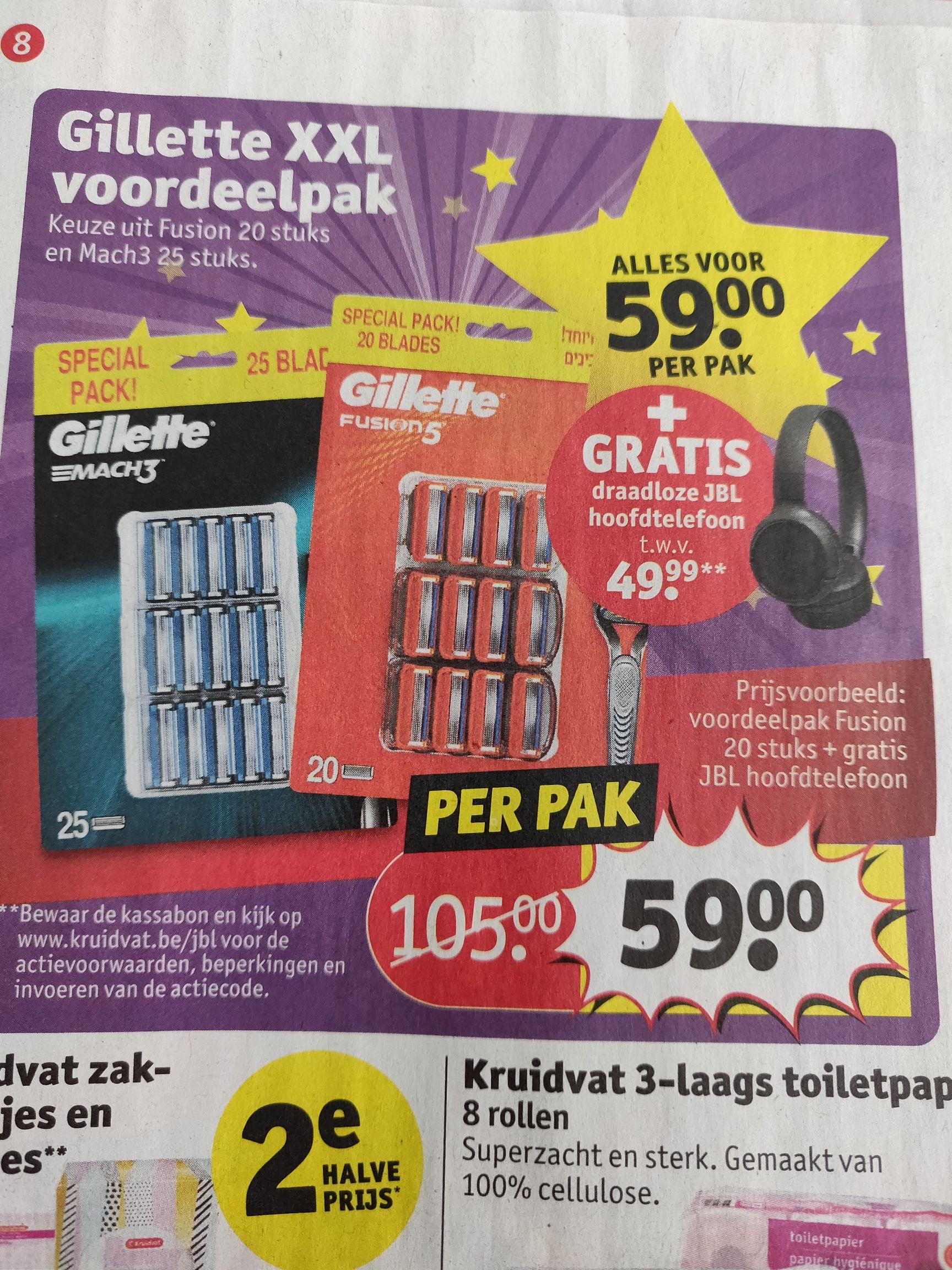 Gilette XXL voordeelpak + GRATIS draadloze hoofdtelefoon twv 49.99 @ Kruidvat België