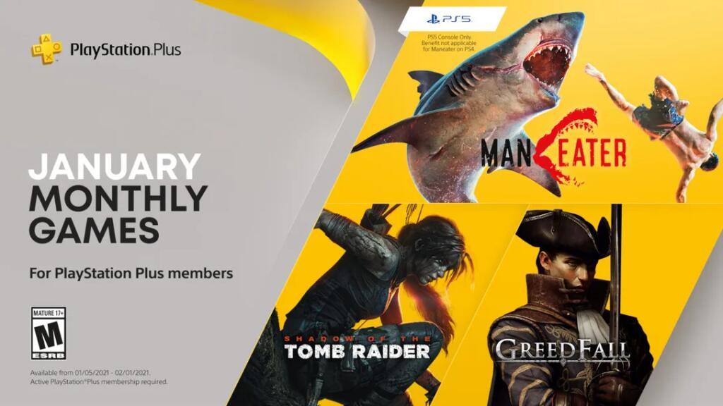 PS+ games voor januari 2021: Maneater, Greedfall en Shadow of Tomb Raider