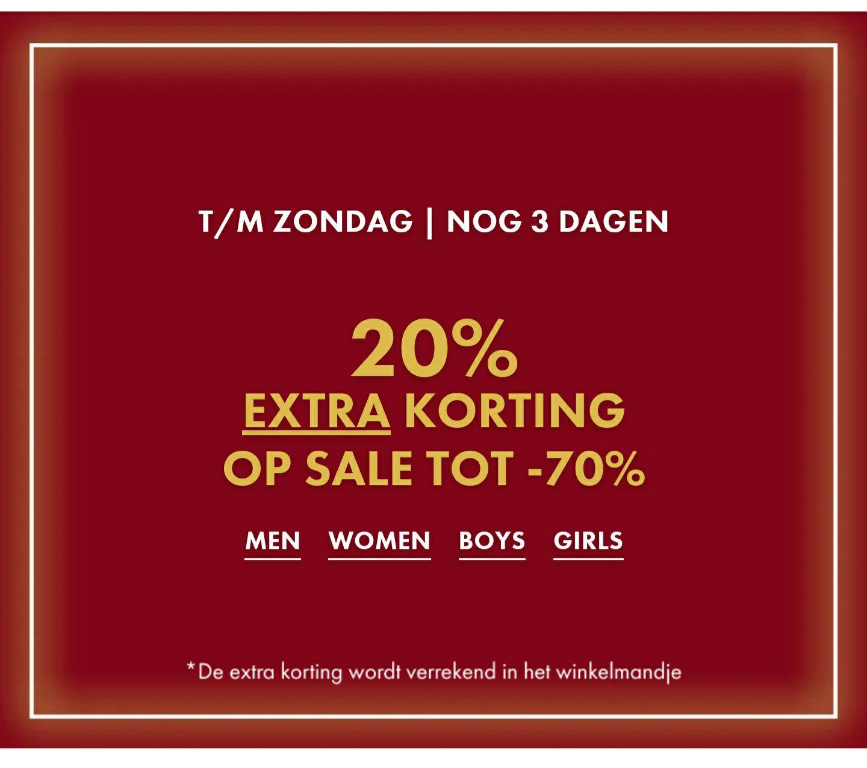 20% extra korting op sale tot 70 % korting
