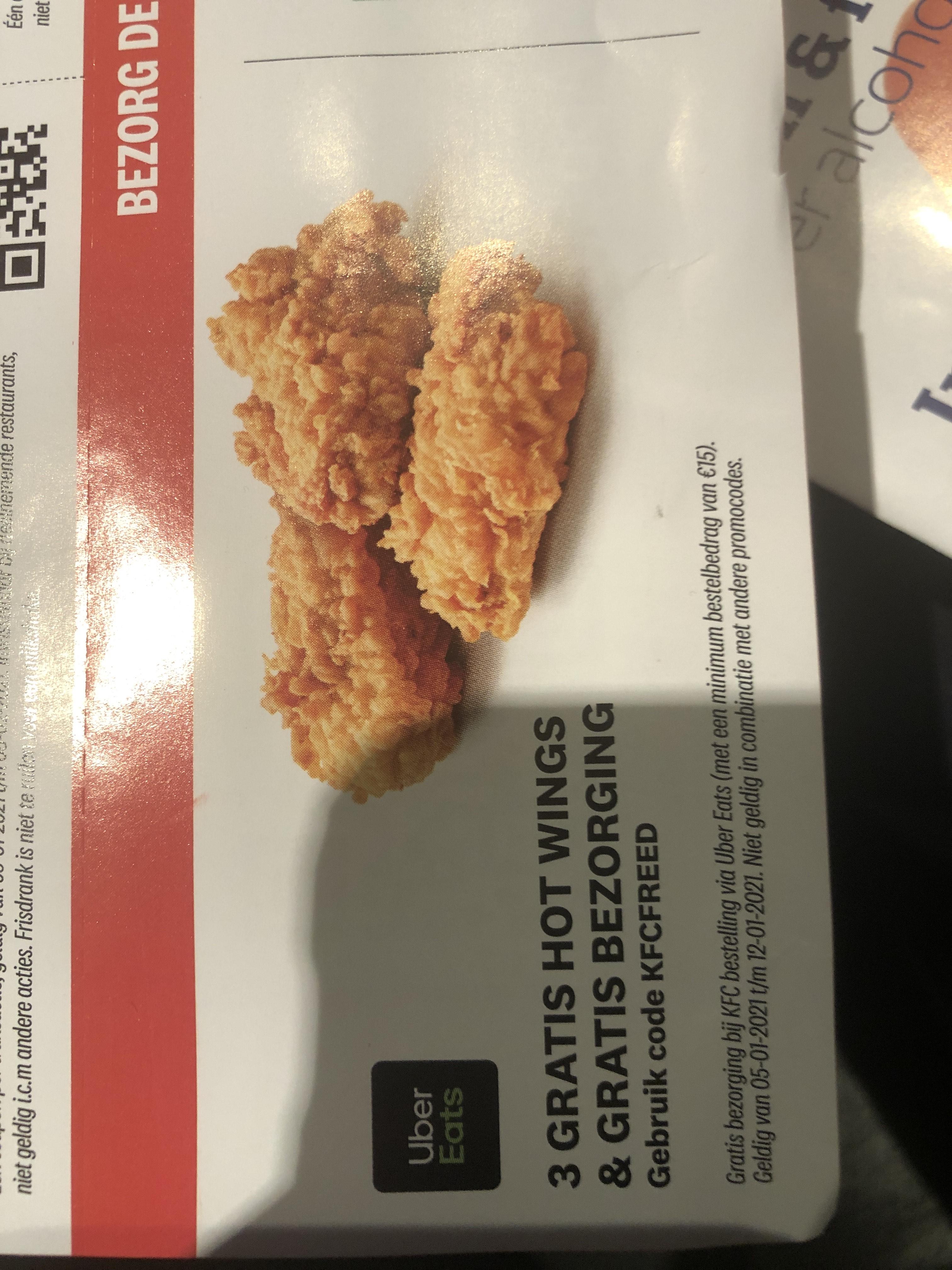 UberEats KFC Coupon (3 Gratis Hot Wings + bezorging) minimale besteding €15