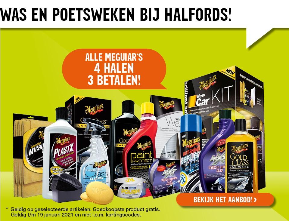 Meguiars 4 halen 3 betalen @ Halfords.nl