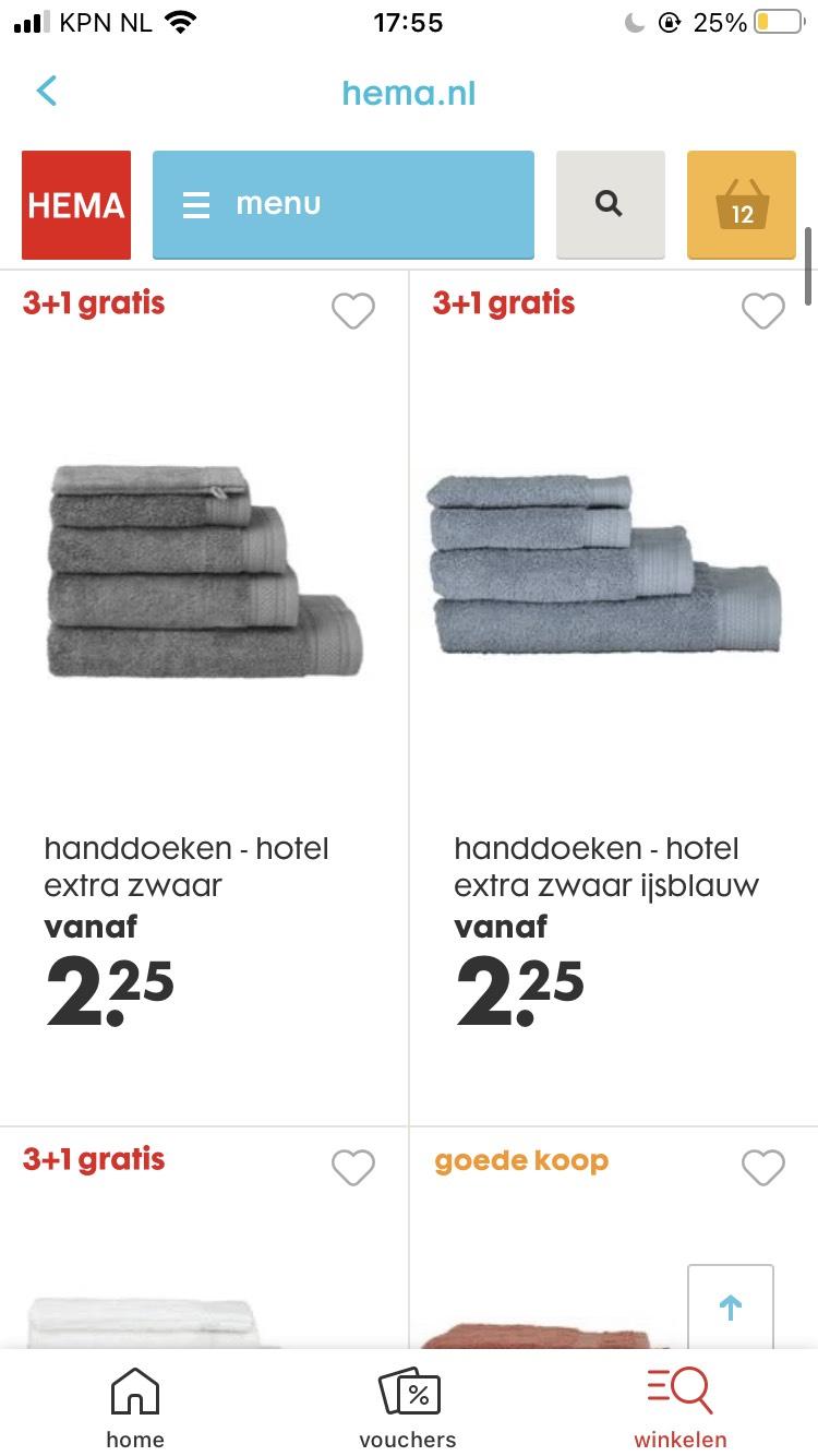 Hema handdoeken 3+ 1 gratis, gratis verzending vanaf €25