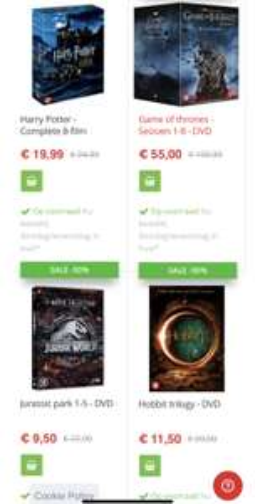 Hoge korting op Film&Series Boxsets (o.a. Harry Potter/GOT/Hobbit)
