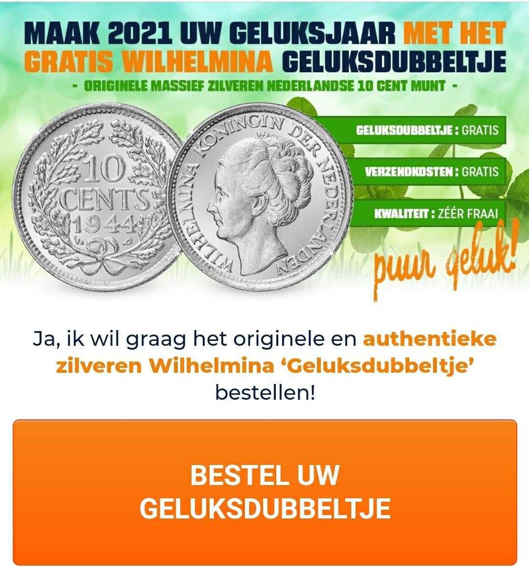"""Gratis zilveren """"geluks"""" dubbeltje uit de periode van 1926 tot 1944"""
