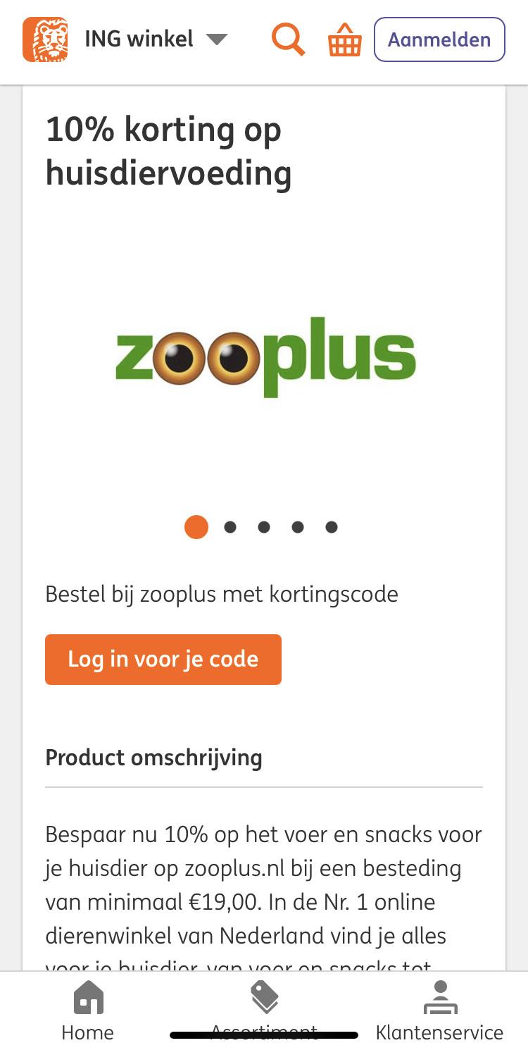 10% korting voor ING klanten bij Zooplus (op voer en snacks vanaf €19,00)