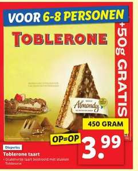 Toblerone taart €3,99 bij Lidl - vanaf maandag 18 januari