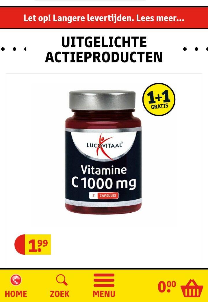 Gratis potje vitamine C Lucovitaal twv 1,99 plus 1 + 1 gratis bij Kruidvat