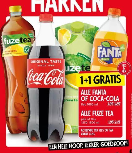 1+1 gratis op alle Fanta, Coca Cola (1000ml) en Alle Fuze tea (1250-1500ml) bij Jan Linders