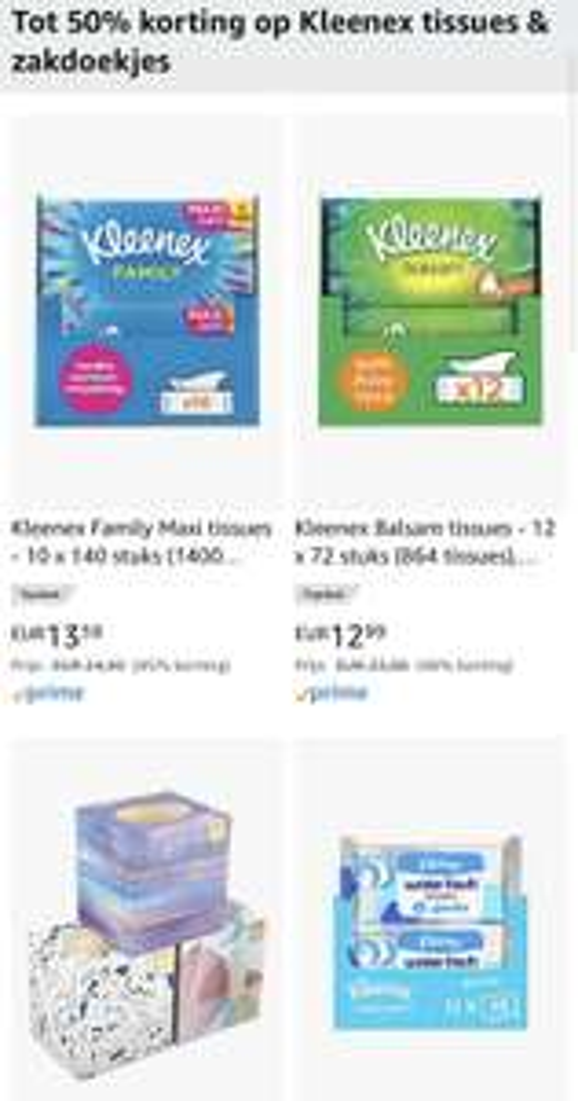 Tot 50% korting op Kleenex tissues & zakdoekjes