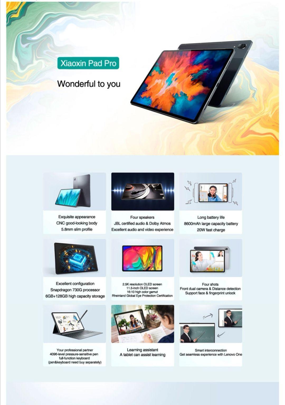 Lenovo XiaoXin Pad Pro Snapdragon 730G Octa Core 6GB RAM 128GB ROM 11.5 Inch OLED