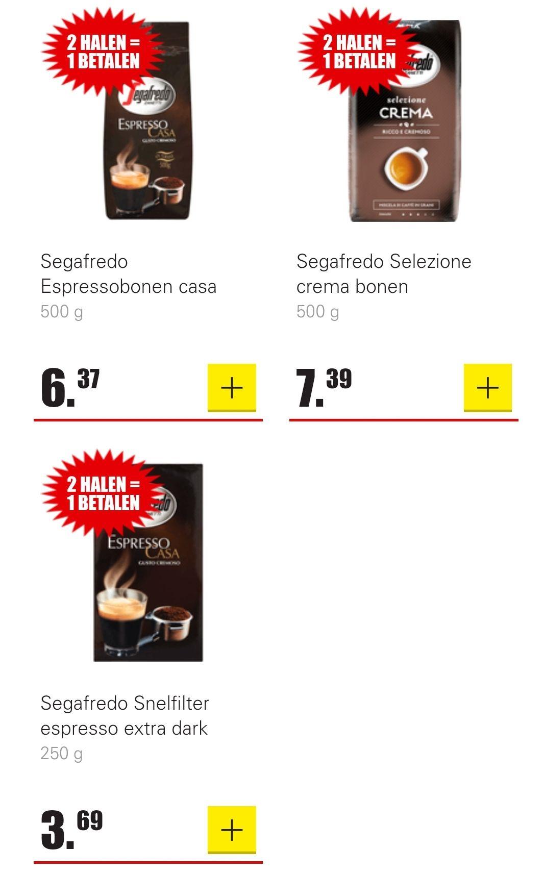 Segrafedo koffiebonen en snelfiltermaling 1+1 gratis